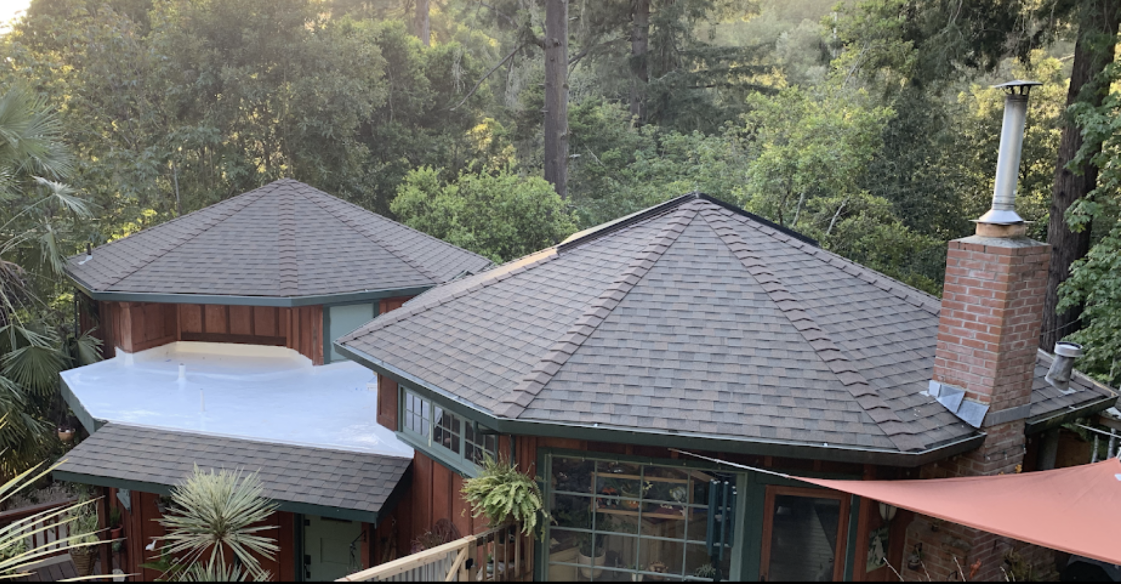 Composition shingle roof in Santa Cruz California