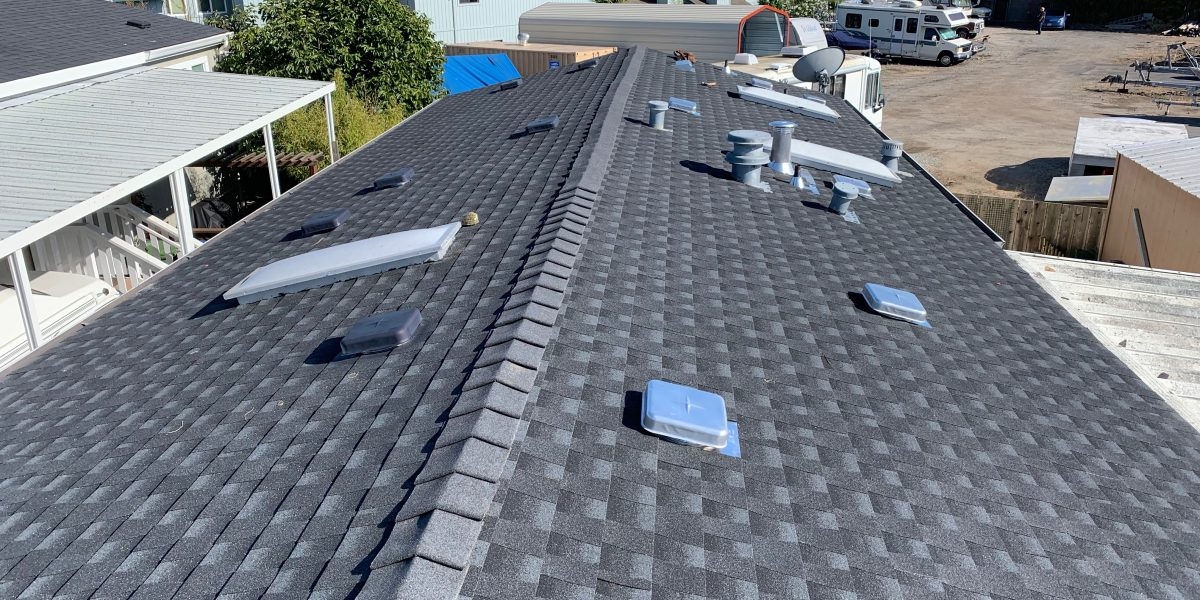 Asphalt shingle roof completed in Aptos, CA by Redwood Roofing and Repair, Santa Cruz's number one roofing company.