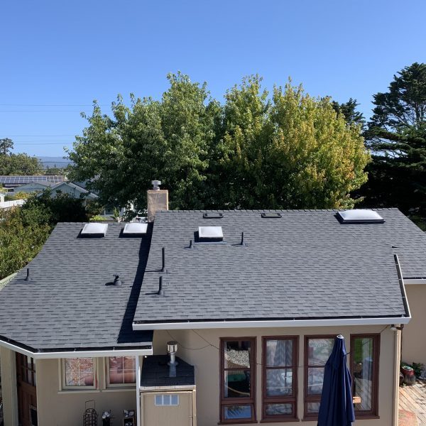 New residential shingle roof completed by Redwood Roof Repair in the San Jose California area.