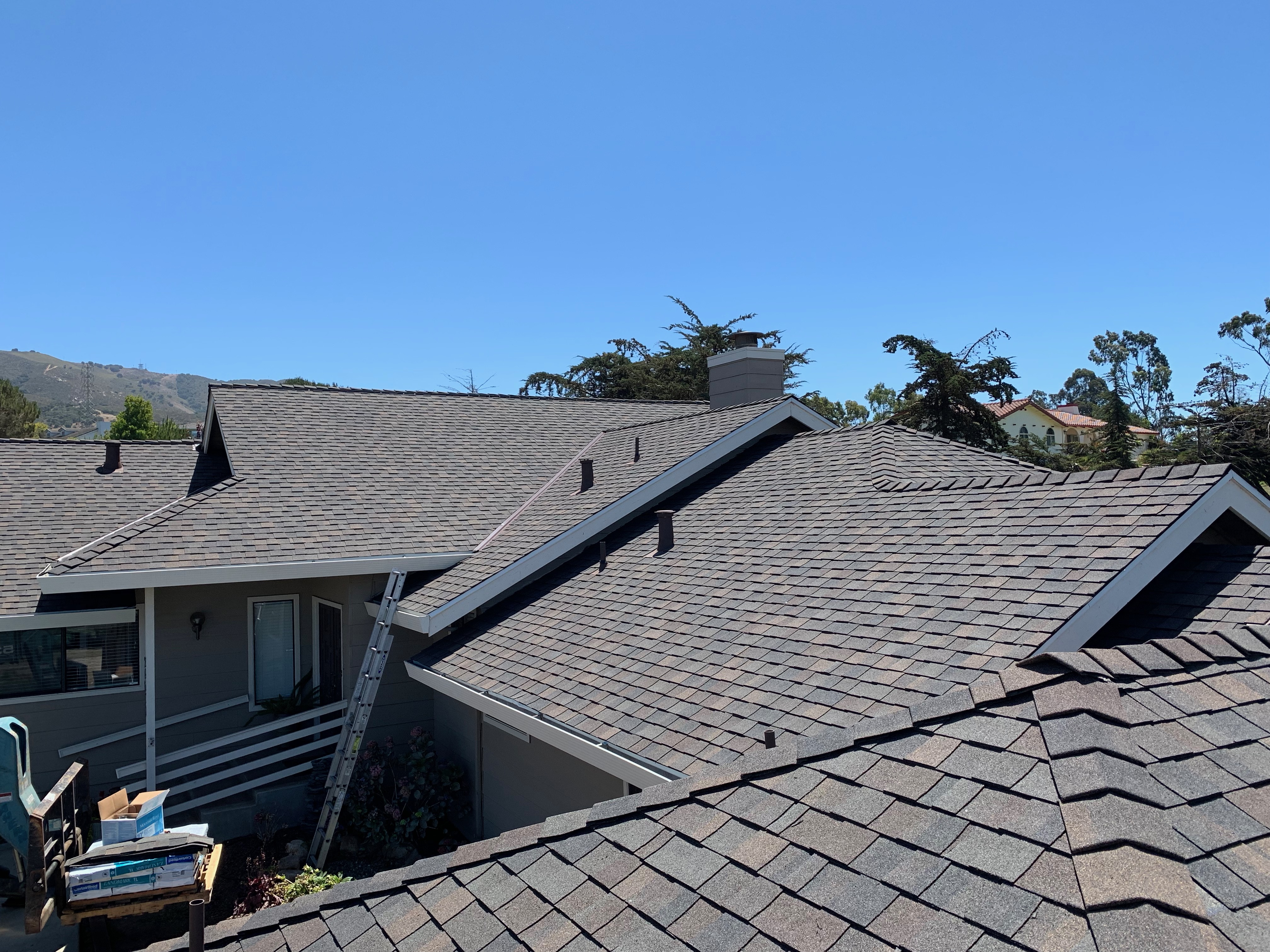 Composition shingle roof installed in Santa Cruz California by Redwood Roofing and Repair.