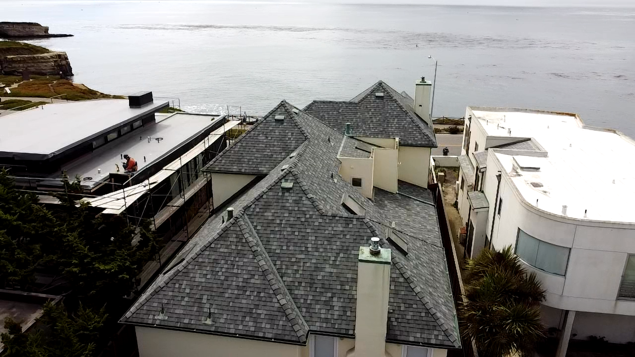 Redwood Roofs multi pitch asphalt shingle roof install in Santa Cruz County Ca