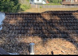 An example of a tile roof installed by a roofing contractor in Aptos Ca that has been left to collect debris causing roof failure