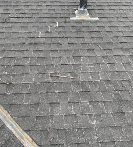 Moderate granule loss on a composite shingle roof in Aptos CA