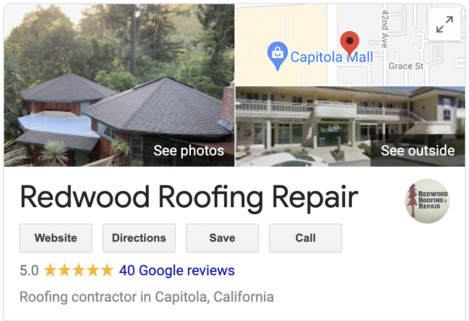 Over 40 five star Google Reviews show that Redwood Roofing and Repair is a top roofing company in Santa Cruz California