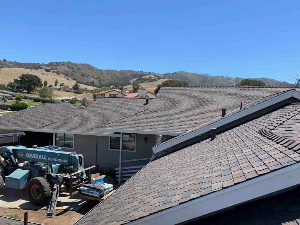 Recent asphalt shingle residential roof installed by the top roofing contractor in Capitola CA Redwood Roofing and Repair