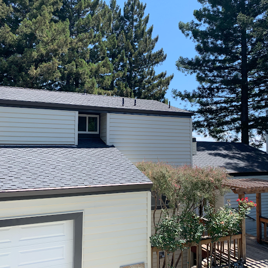 Upgraded asphalt shingles in Boulder Creek CA installed by Redwood Roofing and Repair